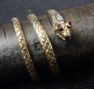 Coiled Snake Ring Yellow Gold Ruby Eyes Diamond on Head Coil