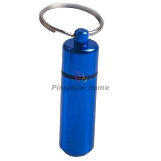 Mini Blue Aluminum Pill Box Case Bottle Holder Container Keychain H