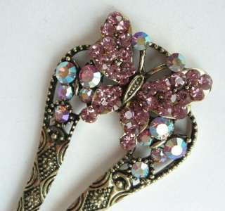 SWAROVSKI CRYSTAL BRONZE BUTTERFLY HAIR STICK PIN PICK 334