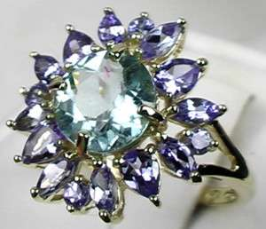 CERTIFIED BLUE PARAIBA TOURMALINE TANZANITE RING 14K GOLD