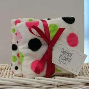Hot Pink/black Minky Polka Dot Burp Cloth Set: Baby